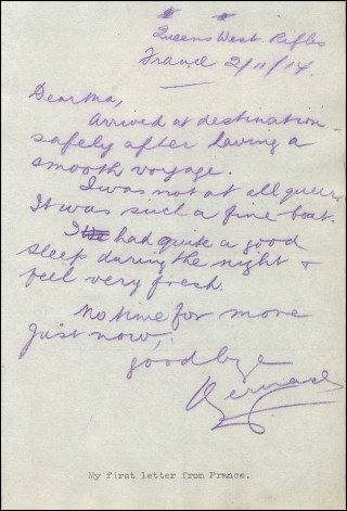 Sergeant Bernard Brookes' first letter sent home from France | Bob Brookes Collection