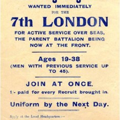 Recruiting poster for the 7th (City of London) Battalion, The London Regiment. | Hammersmith and Fulham Archives