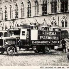 Waring and Gillow Removals, warehousing van parked in the main square of Ypres in 1915. | City of Westminster Archive Centre