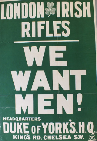 London Irish Rifles recruitment poster | Kensington and Chelsea Local Studies