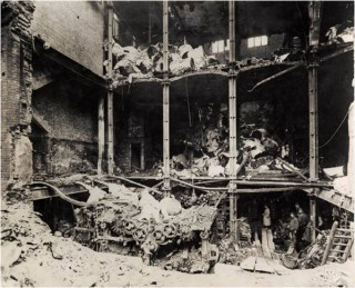 Damage to the printing presses at Odham's Press, Long Acre, as a result of an aeroplane night raid on 28th January 1918. | City of Westminster Archive Centre