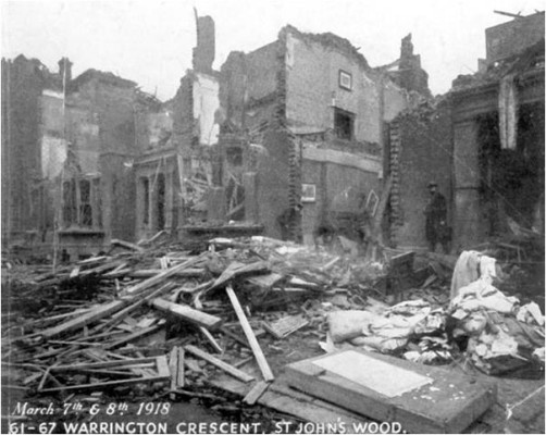 Bomb damage to 61-67 Warrington Crescent in March 1918.   City of Westminster Archive Centre
