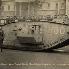 National War Bond Tank on display Trafalgar Square, 1917. | City of Westminster Archive Centre