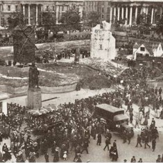 War Bonds mock French village in Trafalgar Square in October 1918. | City of Westminster Archive Centre