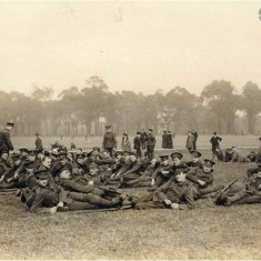Members of G Company of the 28th City of London Artist Rifles at ease in Regent's Park after a route march, 1914. | City of Westminster Archive Centre