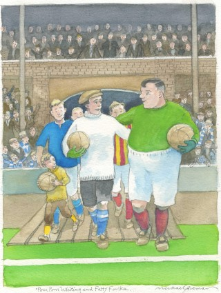 Michael Foreman illustration of Pom Pom Whiting as the Chelsea goalkeeper | City of Westminster Archives