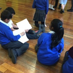 The children look over their scripts before rehearsals begin | Westminster Archives