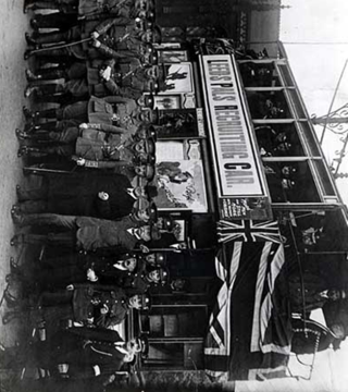 The Leeds Pals next to their recruitment tram | LEODIS Leeds Photographic Archive