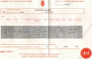 Major Booth's Birth Certificate | General Register Office
