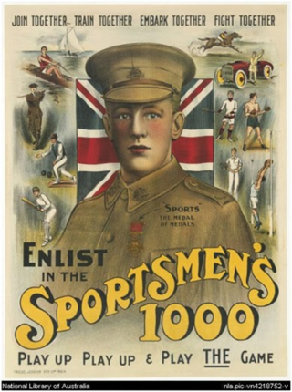 Sports was used to encourage men to sign up | National Library of Australia