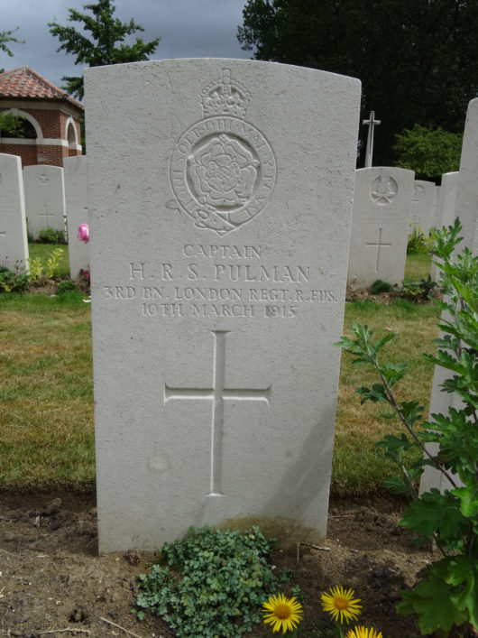 Pulman's grave, Royal Irish Rifles graveyard Laventie, France | The War Graves Photographic Project