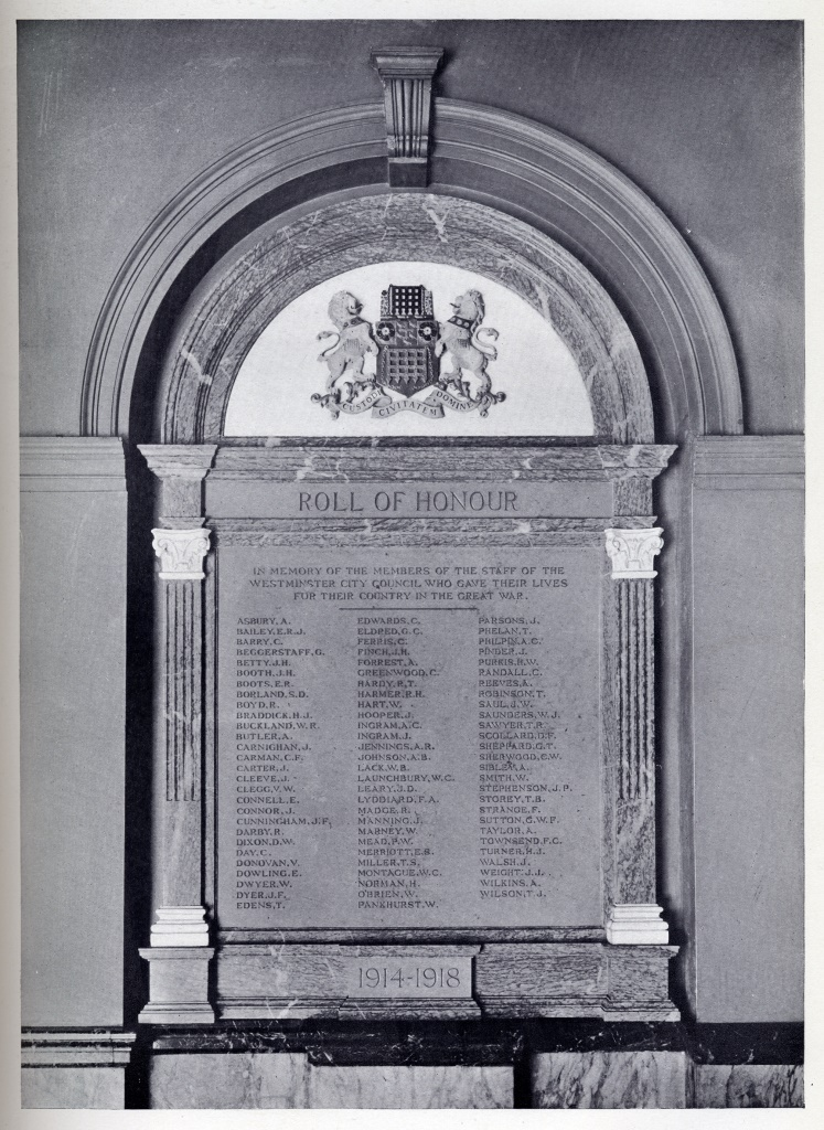 The original Westminster Council staff war memorial including the name of Private Ernest Boots was unveiled in 1921 but went missing in the 1990s.