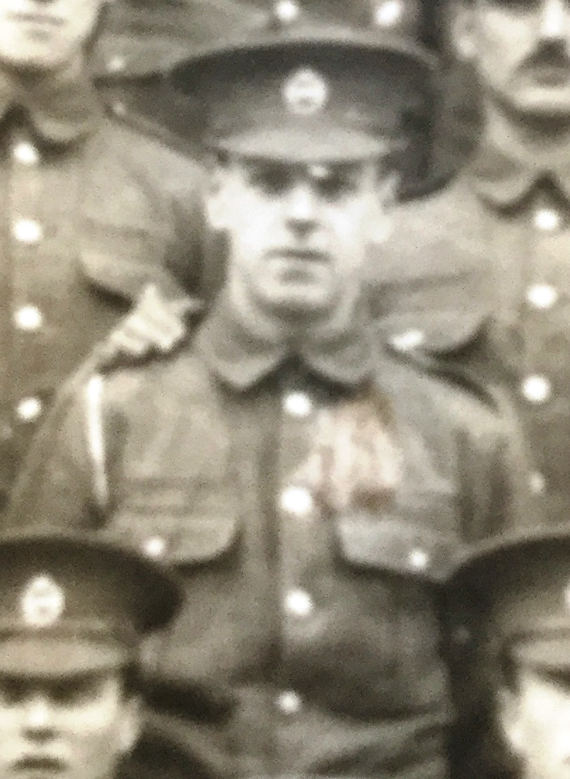 Pte Arthur Seaby photographed just before leaving Aldershot Cavalry barracks August 1914