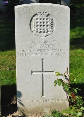 John Hayden's grave at Houplines Communal Cemetery | Peter Daniel Collection