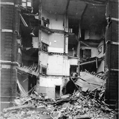 Damage to Savoy Mansions, as a result of an aeroplane night raid on 28 January 1918. | City of Westminster Archive Centre
