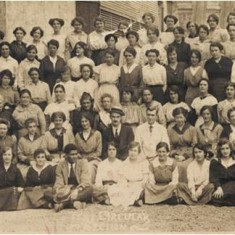 Women workers of the Tent Circular Section at the Waring and Gillow factory at White City in August 1917. | City of Westminster Archive Centre