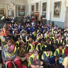 Arrived and ready for the performance - the children sit in the Lord's Long Room   Westminster Archives