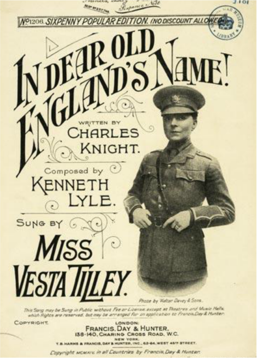 Music hall star Vesta Tilley became known as 'Tommy the Trench' as she used the music hall to lure young men into volunteering for the army. | Westmisnter Music Library