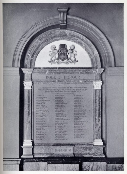 The original Westminster Council staff war memorial including the name of Private Ernest Boots was unveiled in 1921 but went missing in the 1990s. | Westminster Archives