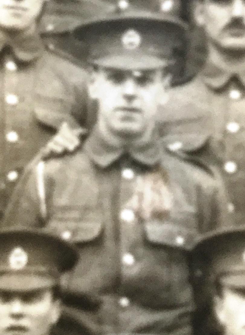 Pte Arthur Seaby photographed just before leaving Aldershot Cavalry barracks August 1914
